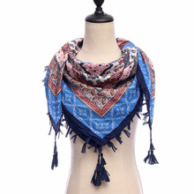 d0fc0ec65bb8 Haute qualité coton carré écharpe femmes vintage imprimer châle wrap  ethnique style pashmina echarpe hiver femme