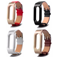 In Stock Genuine Leather Strap For Xiaomi Mi Band 2 Watch Band With Metal Frame For