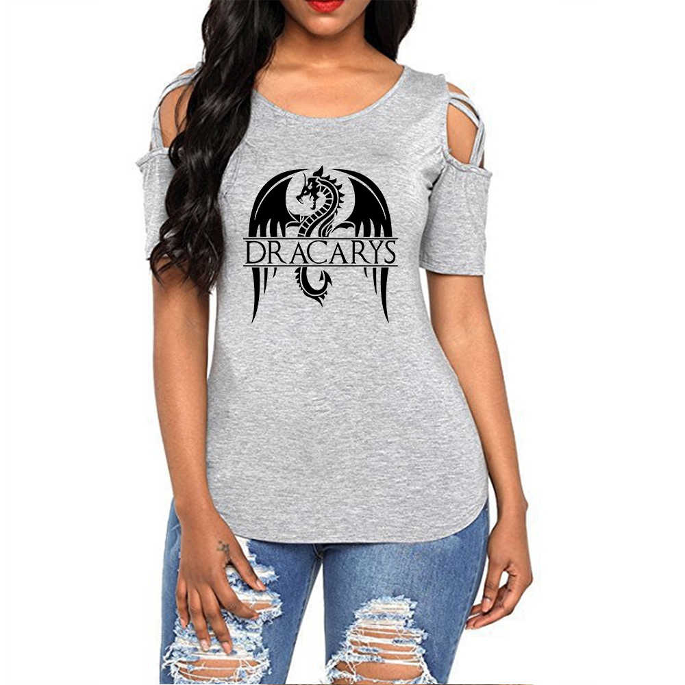 Game Of Thrones Dracarys 2019 Tshirt Kaos Wanita Harajuku Off Bahu Atasan Musim Panas Wanita Kemeja Hollow Streetwear