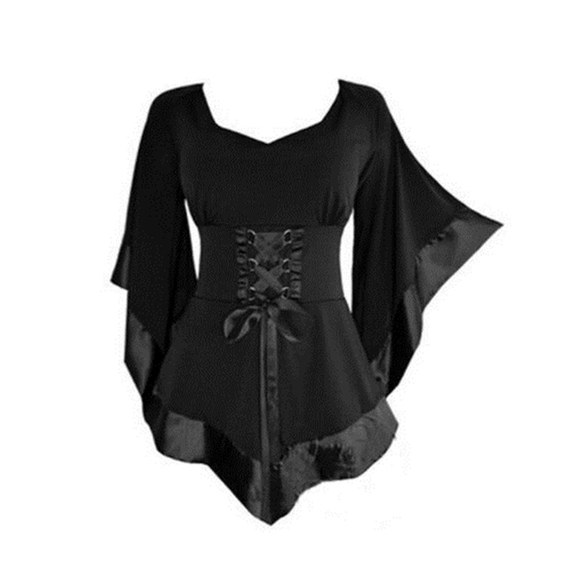 HOT Women Gothic Steampunk Flared Sleeve Lace Up Loose Dress 2017 Ladies Womens Mini Dress