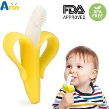 Безопасный Прорезыватель для малышей, игрушки для малышей, без БФА, банан, Прорезыватель для зубов, Силиконовая зубная щетка, уход за зубами, бисер для кормления, подарок для младенцев