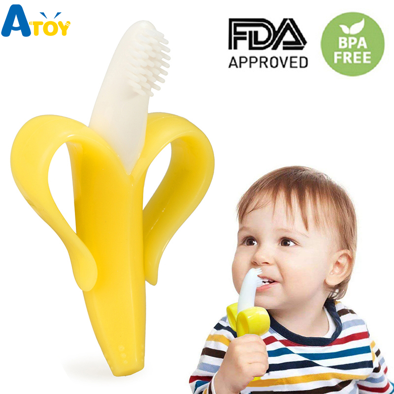 Safe Baby Teether Toys Toddle BPA Free Banana Teething Ring Silicone Chew Dental Care Toothbrush Nursing Beads Gift For Infant