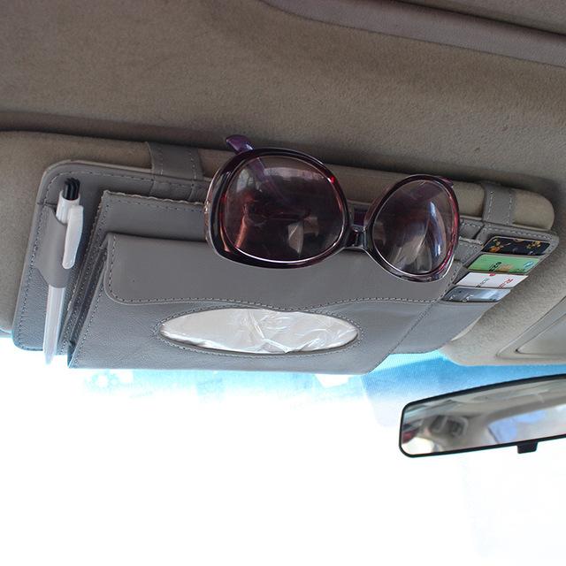 Dupla camada 10 pcs disco CD organizador cartão caneta dom titular caixa de vidros em tampa multi-função titular pala de sol do carro clipe 2009