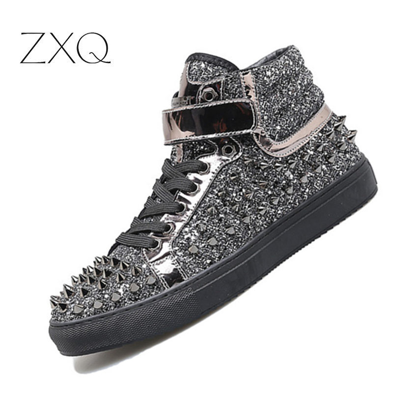 Black Silver Cow Leather Rivets Men Shoes High-Top Fashion Spike Sneakers Shoes Outdoors Flats Casuals Shoes Chaussure Homme