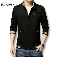 iSurvivor Brand New Autumn Men Casual Jacket Coat Mens Fashion Washed Cotton Brand-Clothing Jackets Male Coats Zipper Sales