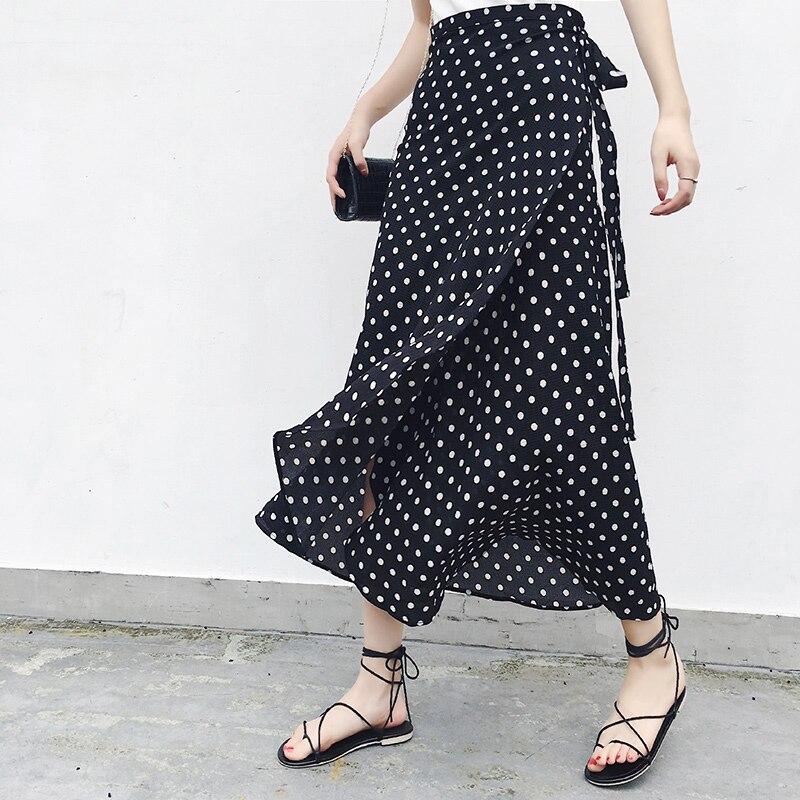 Long Skirts Women High Waist Midi Skirt Bow Tie 2019 Summer Sexy Print Split Wrap Skirt Ladies Korean Style Beach Chiffon Skirt