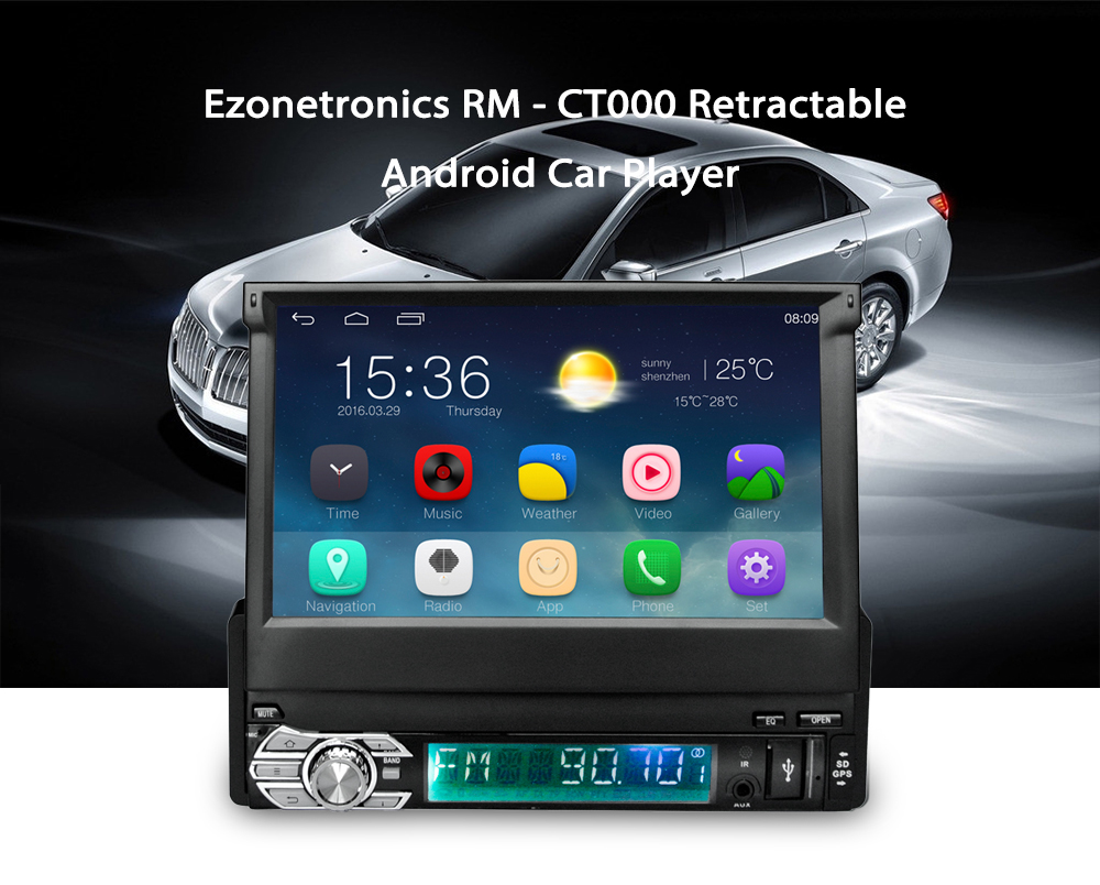 imágenes para 7 pulgadas Android 5.1 sistema de Radio Del Coche 1 DIN En El Tablero de control Del Volante Estéreo FM/Aux/USB/TF/bluetooth/pantalla táctil reproductor