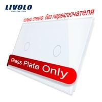 Livolo роскошное белое жемчужное Хрустальное стекло, 151 мм * 80 мм, стандарт ЕС, двойная стеклянная панель, VL-C7-C1/C1-11 (4 цвета)