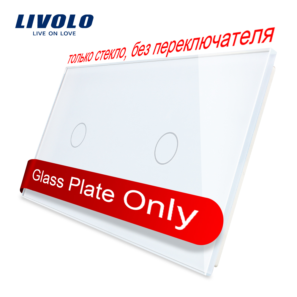 Free Shipping Livolo Luxury White Pearl Crystal Glass 151mm 80mm EU Standard Double Glass Panel VL