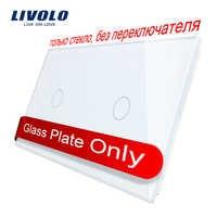 Livolo luxo branco pérola cristal de vidro, 151mm * 80mm, padrão da ue, painel de vidro duplo, VL-C7-C1/C1-11 (4 cores)