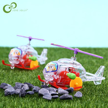 2Pcs Baby Favorite Gift Mini Cartoon Plain Wind Up Toys Helicopter Clockwork Classic Toys for Children Christmas Gift GYH(China)
