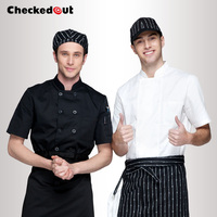 Free Shipping Cook Suit Short Sleeve Chef Shirt Checkedout Chef Uniform Cheapest Chef Jacket