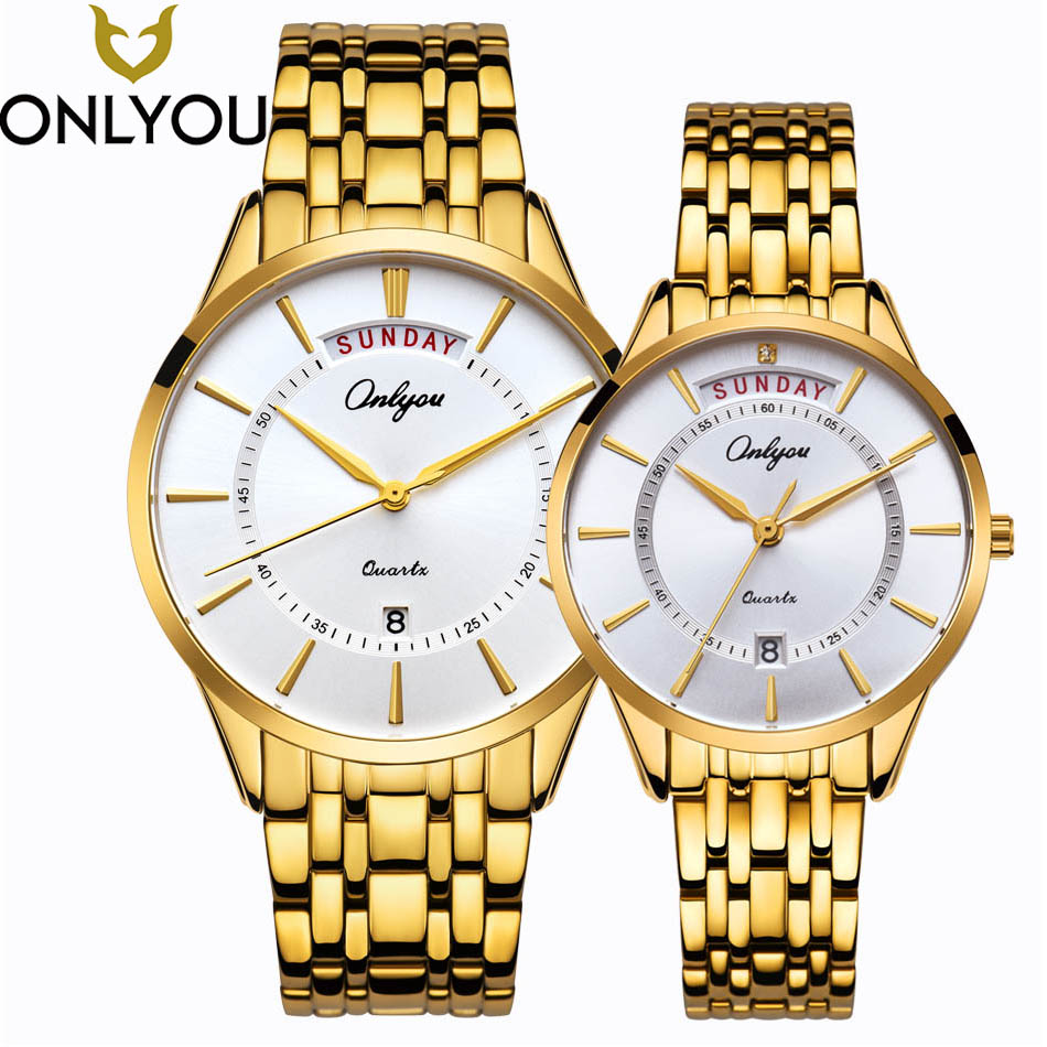 ONLYOU Gold Watches Men Top Brand Luxury Big Dial Wristwatches Women Business With Calendar Quartz Lovers Watch HOT SALE onlyou brand lovers watch women men quartz genuine leather wrist watches fashion business female male clock with calendar 81092