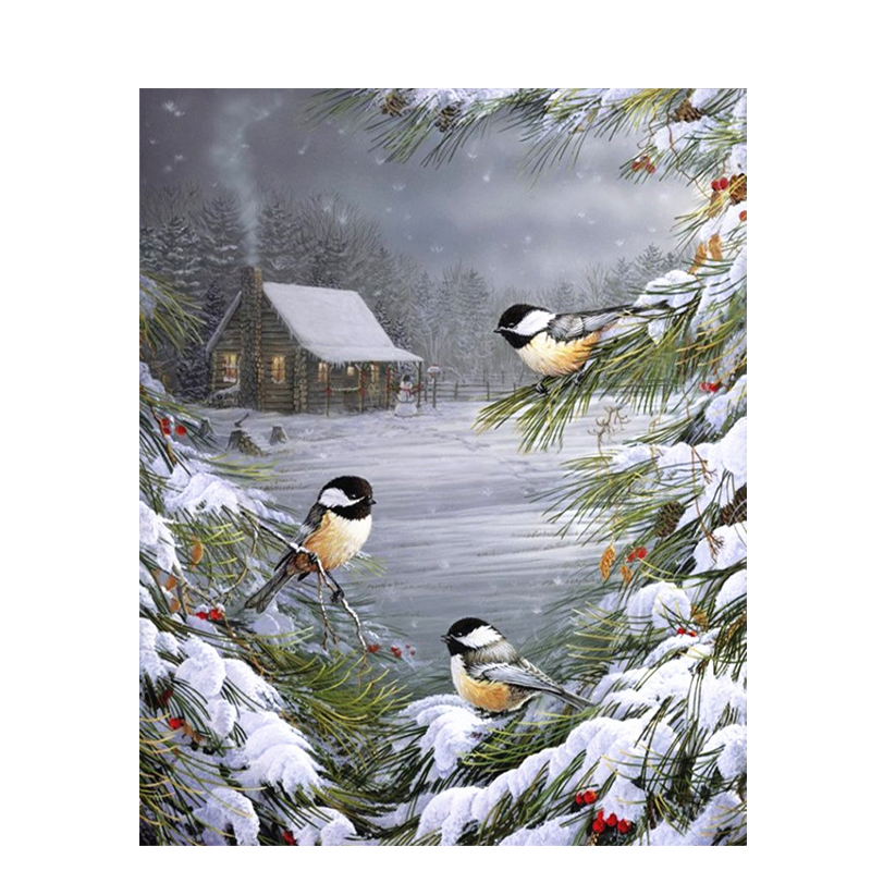 Winter Birds Hand Made Paint High Quality Canvas Beautiful Painting By Numbers Surprise Gift Great Accomplishment
