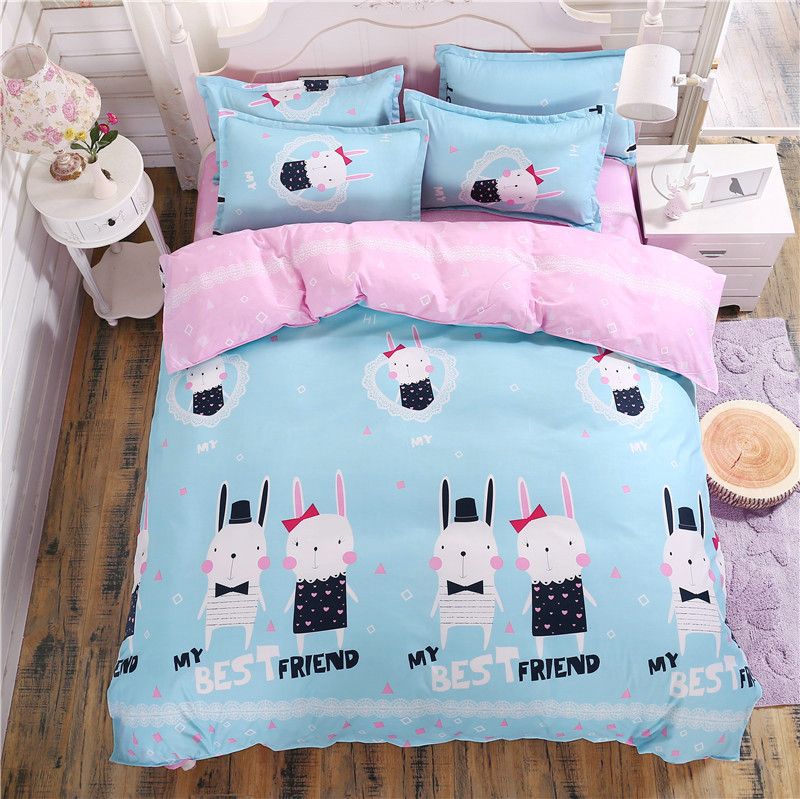 Fashion Simple And Generous Cartoon Goat Printing Pattern Super Comfortable Soft Bedding 4 Pcs Quilt + Bed + Pillowcase
