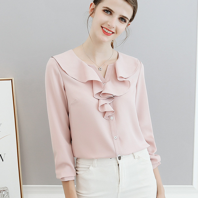 37aba9e345d Spring Summer Shirts Office Lady Ruffle Neck Long Sleeve Blouses Women Tops  Casual Shirt Elegant Party Sexy Slim Top Pink Blusas