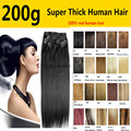 10pcs /set  200g 26 colors available  Free Shipping  THICK Full Head silk soft  remy Brazilian Human Hair Clips In/on Extensions