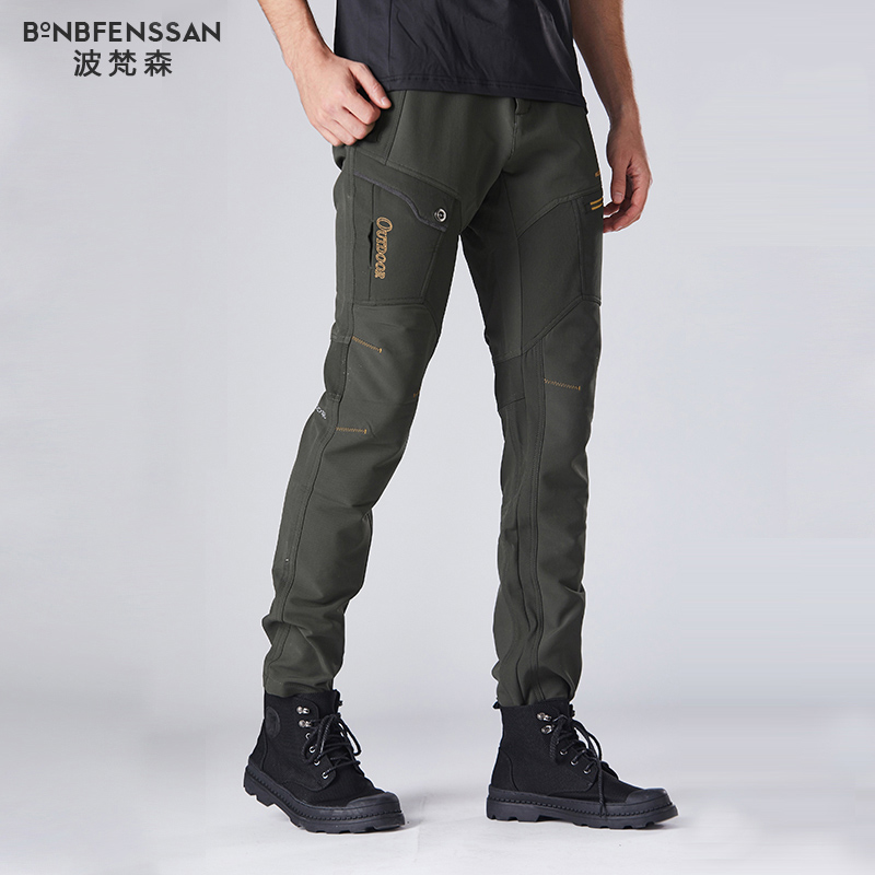 New men Hiking Pants Fleece Thicken Outdoor Trousers Waterproof Windproof Thermal for Camping Ski Climbing Hiking