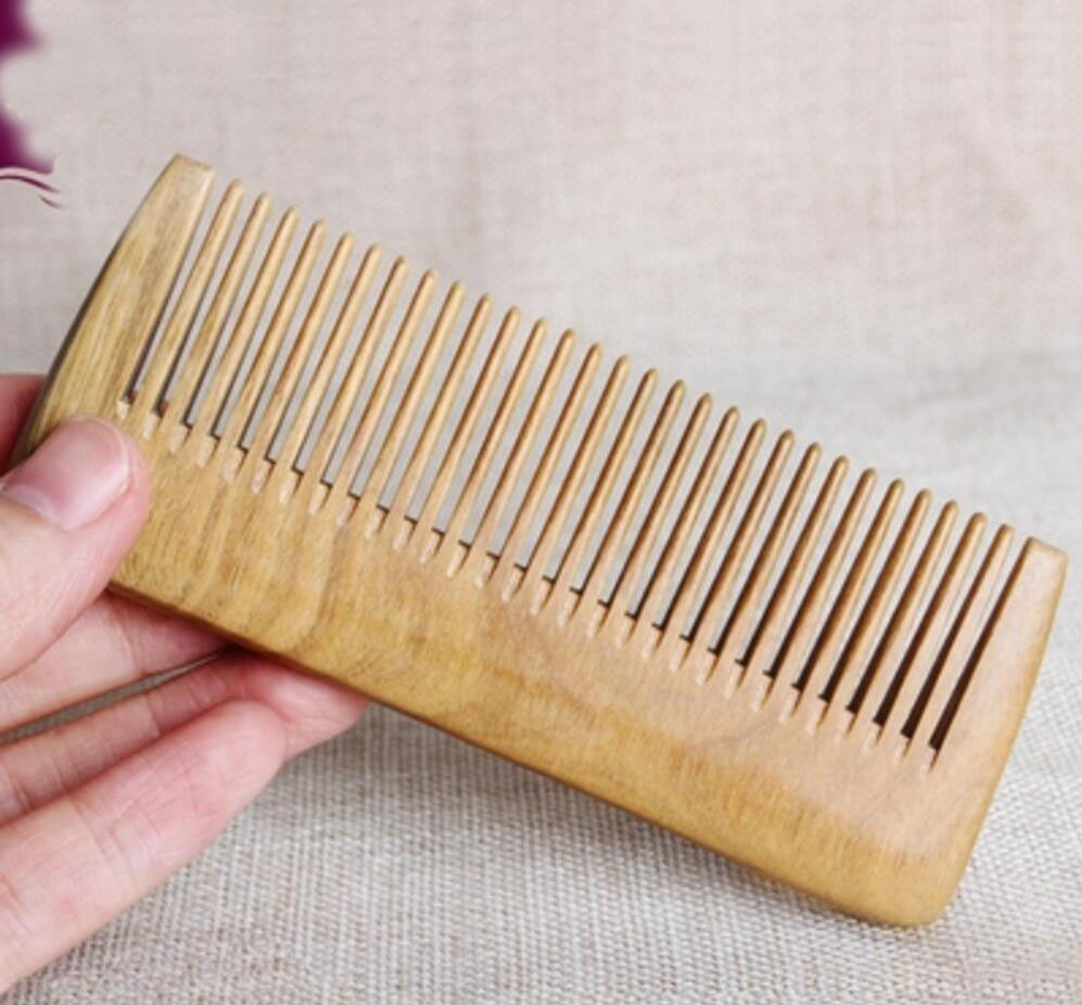 Natural green sandalwood font b hair b font brush anti static comb anti font b hair