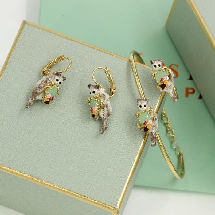 Les Nereides Lovely Cat Gem Bangles Earring Opening Ring For Women New Arrival Good Gift High