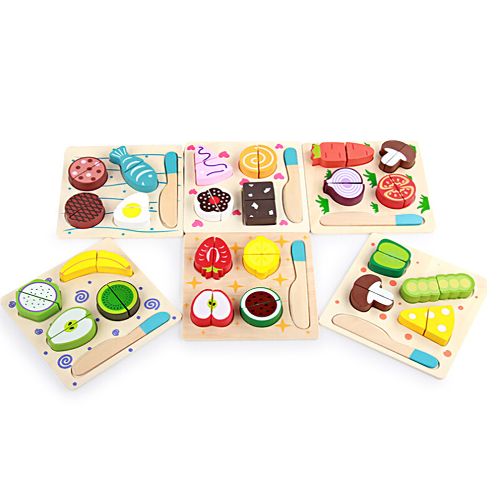 Wooden Kitchen Cutting Toys Cutting Fruits Vegetables Pretend Play ...