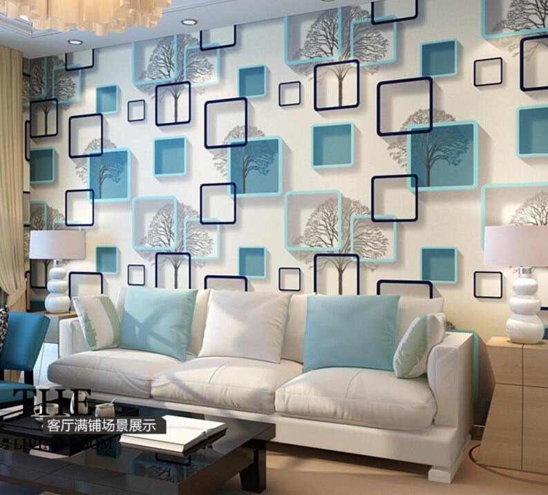 Modern 3d Frame Box Wallpaper Roll Waterproof Pvc Vinyl Tile Wall