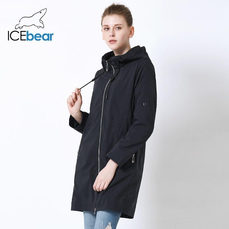 ICEbear 2019 สตรีฤดูใบไม้ร่วง Windbreaker เดี่ยวแถว Zipper ลำลองแฟชั่นผู้หญิง Trench Coat ยาวยี่ห้อเครื่องแต่งกาย GWF19013I-ใน โค้ทยาว จาก เสื้อผ้าสตรี บน   3