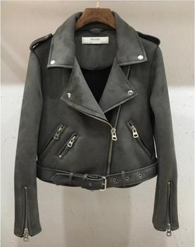 Pink Motorcycle Jacket | 2018 New Arrial Women Autumn Winter Suede Faux Leather Jackets Lady Fashion Matte Motorcycle Coat Biker Gray Pink Beige Outwear