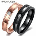 AMOURJOUX Rose Gold And Black Color Frosted Zircon Band Stainless Steel Wedding Rings For Couples Fashion Mens Womens Ring