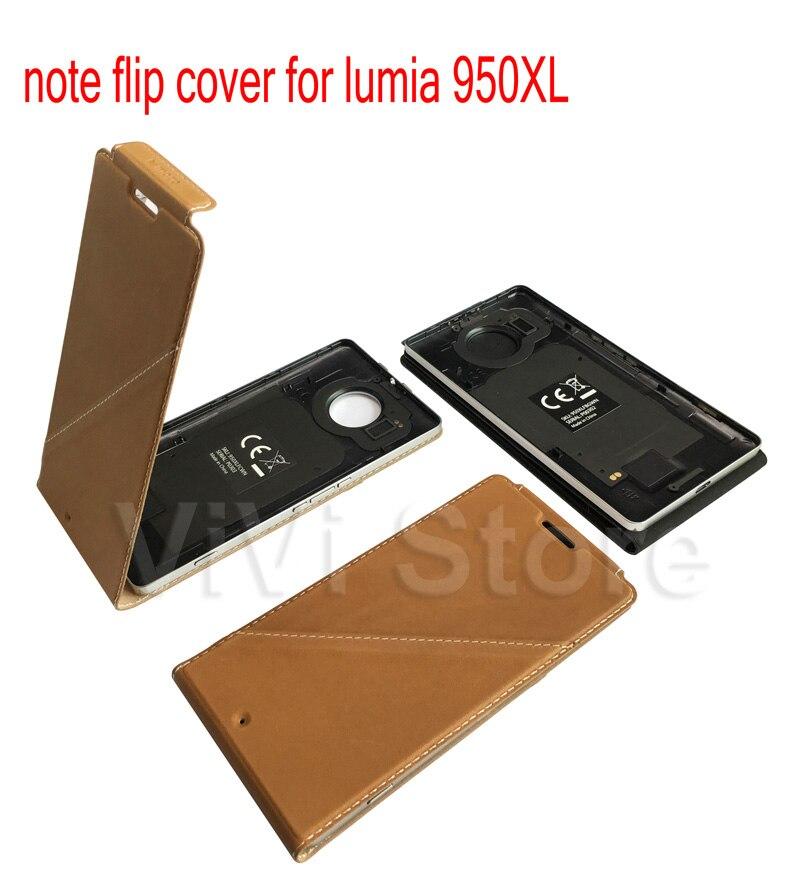 imágenes para Mozo de la Cubierta Del Tirón Original para Microsoft lumia 950XL Contraportada caso para Nokia lumia Cuero 950XL Housinging con NFC y WLC