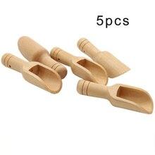 5 pcs Spoons Home Kitchen Small Little Mini Wooden Scoop Honey Coffee Condiment Salt Sugar Tea Universal Useful