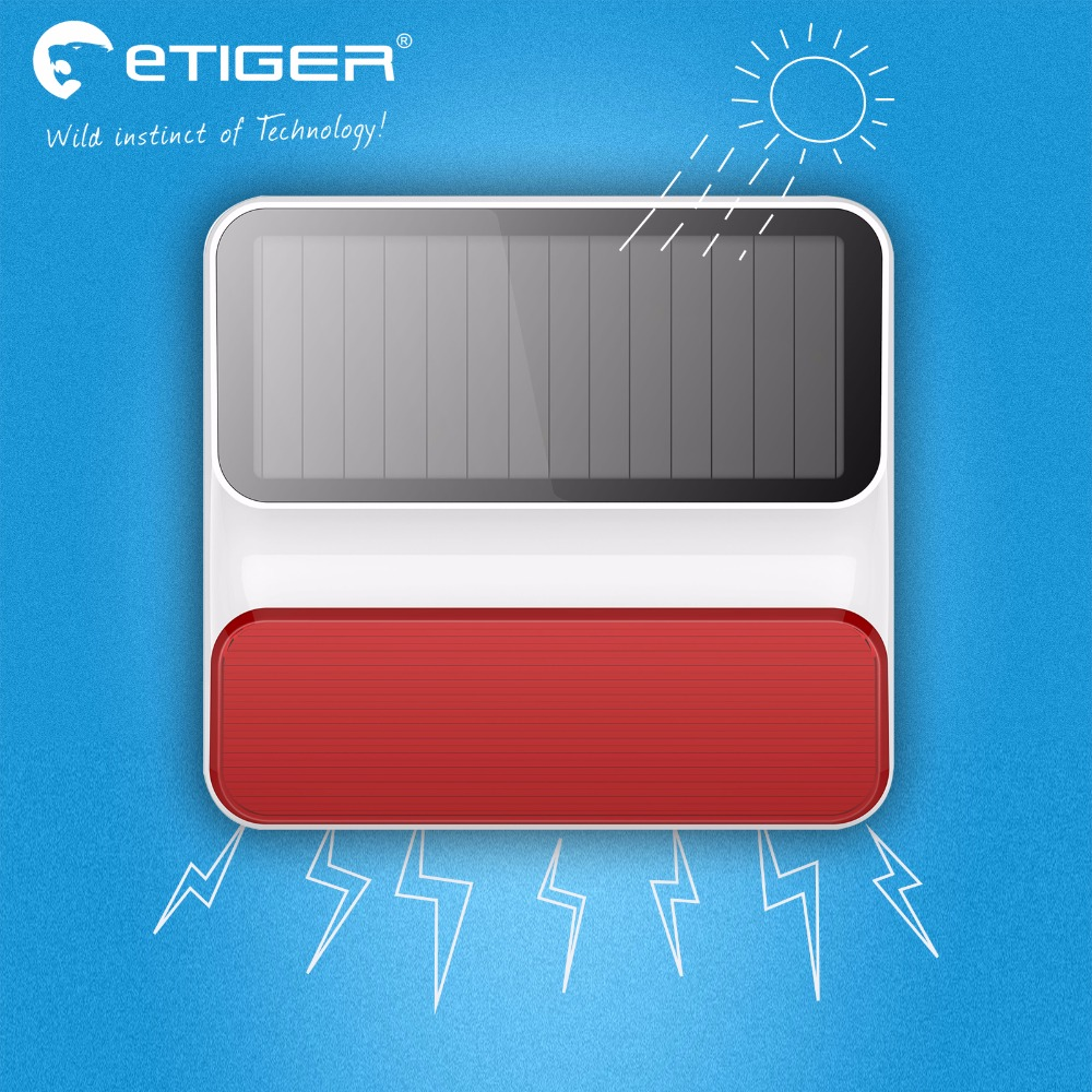 imágenes para Etiger ES-S8A nueva alarma Sirena Solar inalámbrica sirena del estroboscópico de la energía solar Para Alarma S4 S3B G90B S2W