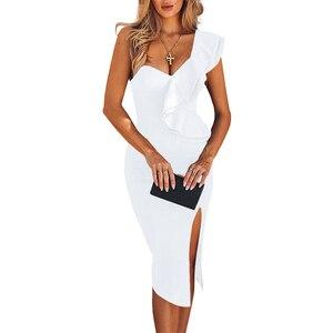 Image 5 - Ocstrade新到着 2020 女性ワンショルダー包帯ドレスエレガントなフリル赤包帯ドレスボディコンセクシーなパーティーナイトクラブドレス