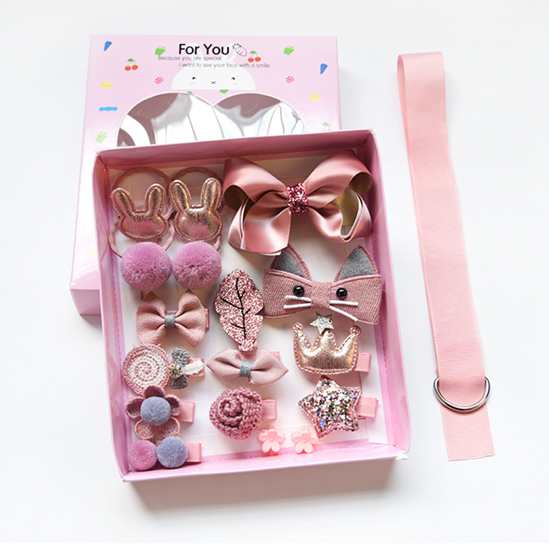set kid fashion hair accesories hairpin headband gift box baby girl hairclip