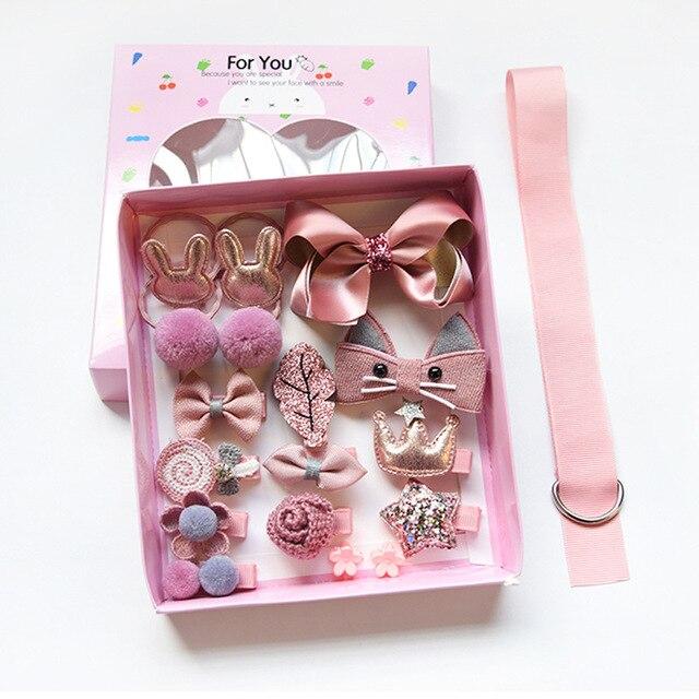 set kid fashion hair accesories hairpin headband gift box baby girl hairclip