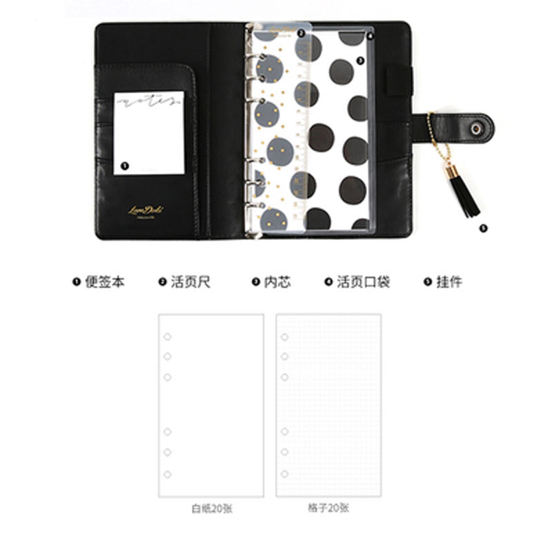 Image 5 - Lovedoki A6 Creative 15mm Ring Size Leopard Diary Binder Notebook Portable Planner Book  Stationery-in Notebooks from Office & School Supplies