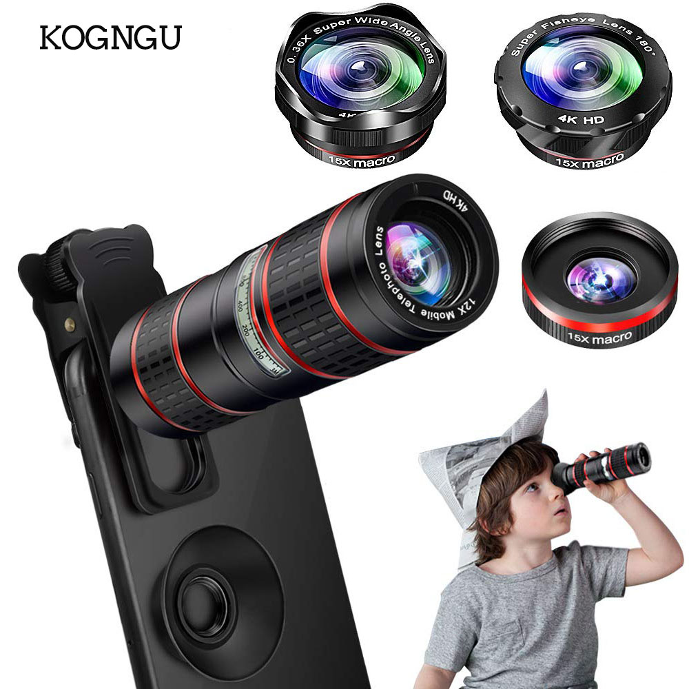 Kogngu 12X Optical HD Cell Phone Camera Lens Dual Focus Monocular Universal Clip On Telephoto for iPhone Android Smartphone