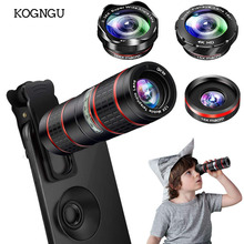 Kogngu 12X Optical HD Cell Phone Camera Lens Dual Focus Monocular Universal Clip On Telephoto Lens for iPhone Android Smartphone 4x 12x detachable telephoto lens set for iphone 4 4s black