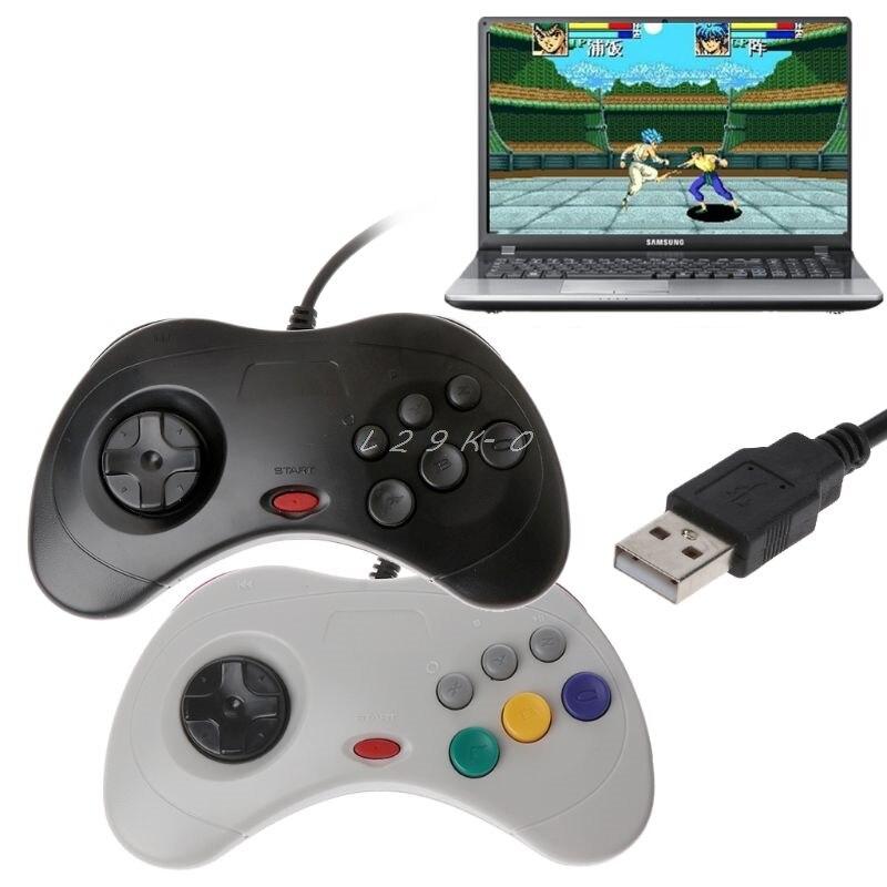 1PC contrôleur de manette de jeu classique USB contrôleur de jeu filaire Joypad pour Sega Saturn PC contrôleur de manette USB