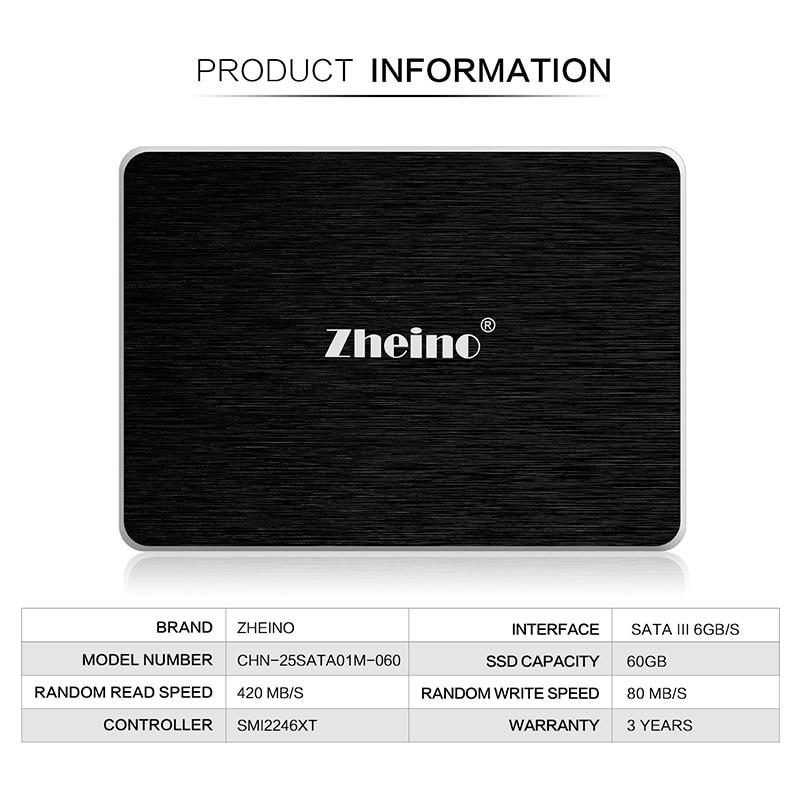 Zheino SATAIII SSD 60GB (2D MLC NOT TLC) SATA3 2.5 inch Internal Solid Disk Drives 7mm For PC Laptop Desktop