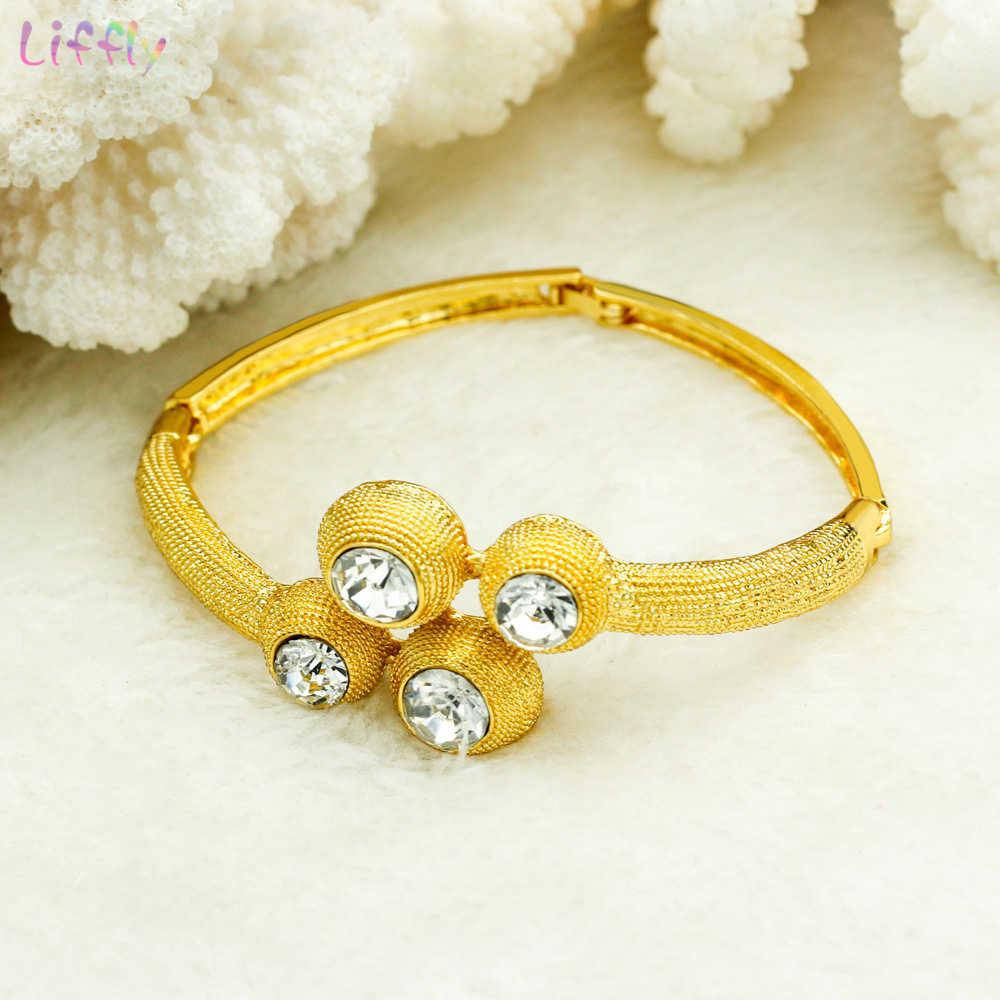 Liffly Afrikanische Brautjungfer Schmuck Sets Halskette Ring Ohrringe Armband Luxus Zirkon Hochzeit Dubai Gold Schmuck Sets für Frauen