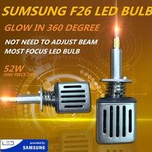 DLAND собственный F26 360 градусов светящиеся наиболее фокусировки 5200LM двигатель авто светодиодный лампа с чипом SAMSUNG, F3 H1 H3 H7 H11 HB3 HB4 H4