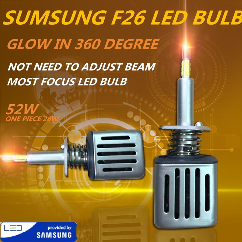 DLAND OWN F26 360 DEGREE GLOWING MOST FOCUSING 52W 5200LM AUTO CAR LED BULB LAMP WITH SAMSUNG CHIP, F3 H1 H3 H7 H11 9005 9006 H4