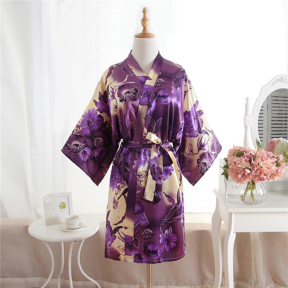Nuevas mujeres Sexy corto Kimono batas vestido Floral púrpura boda ...
