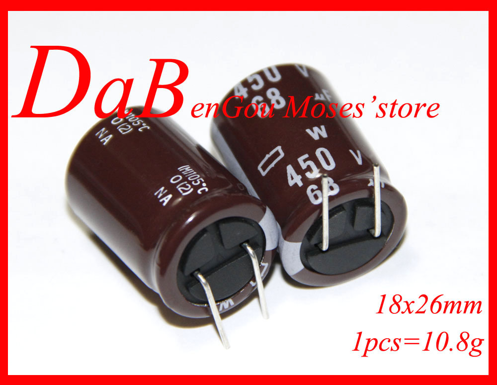 450v 68uf  Original New NI-PPON CHEMI-CON NCC Electrolytic Capacitor Radial Capacitance 18x26mm (10pcs)