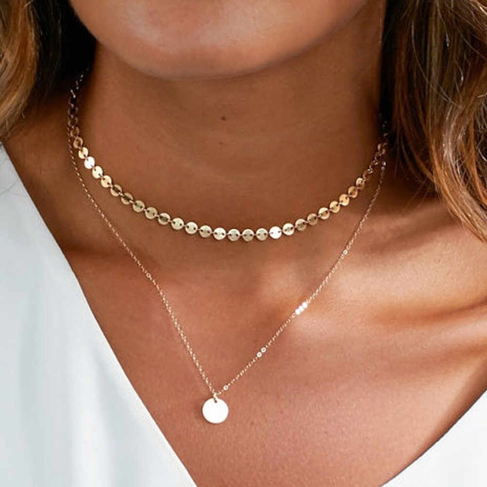สไตล์สร้อยคอผู้หญิงเสื้อผ้าอุปกรณ์เสริมสร้อยคอเหรียญแฟชั่น Layered Choker สร้อยคอผู้หญิง 2019 L0325