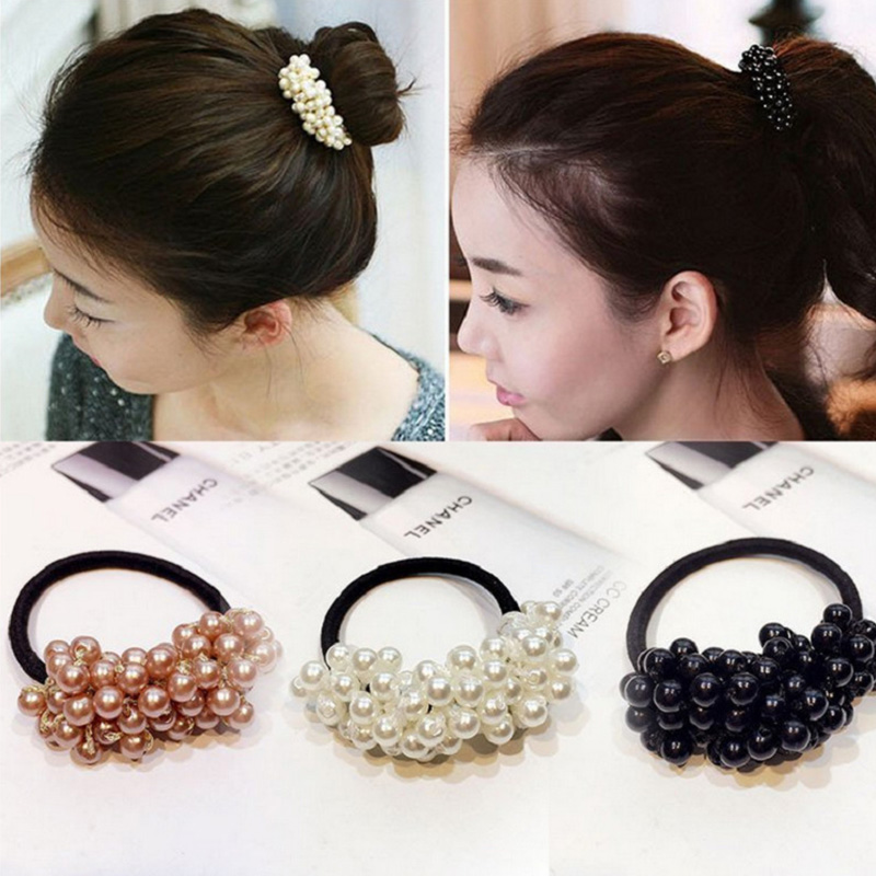 Fashion Women Girls Cute Pearls Elastic Hair Bands Ponytail Holder Rubber Bands Scrunchie Hair Ropes Headbands Hair Accessories