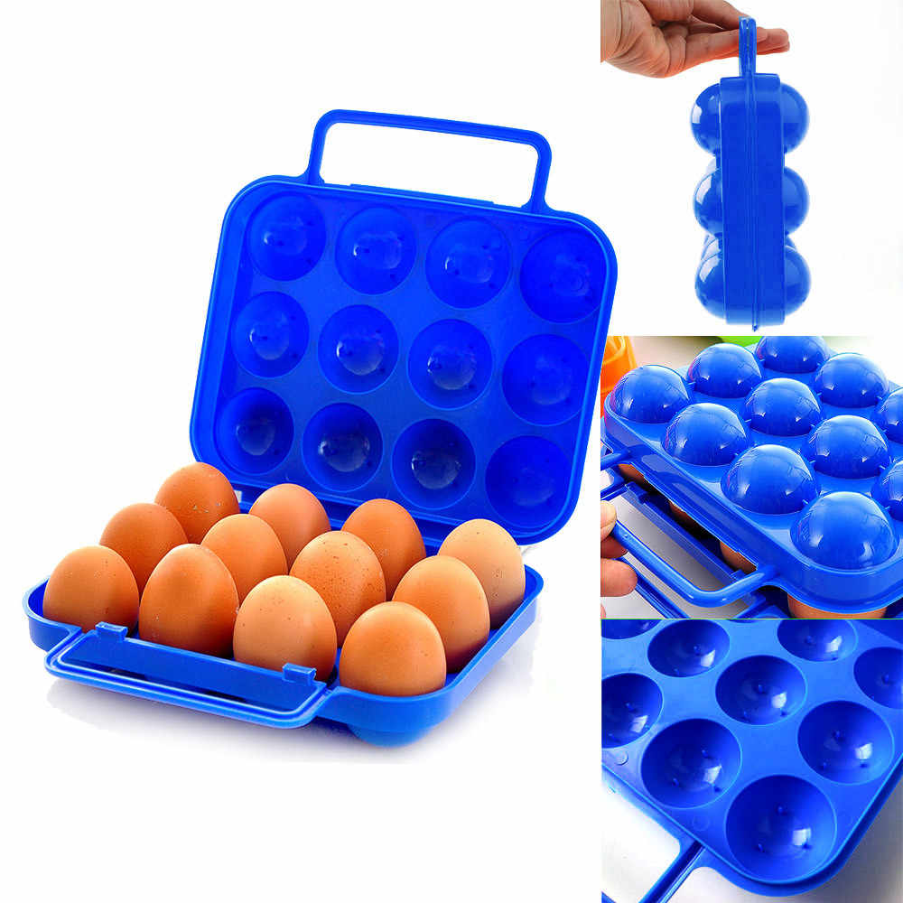 Portable 12 Eggs Plastic Container Holder Folding Egg Storage Box Handle Case Drop Shipping Home Tool Storage Box