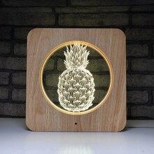 Деревянные милые ананас Подарочный Ночник Led 7/1/3 цвета Usb иллюзия Лампа Рождественский подарок на день рождения лампа Спальня лампа