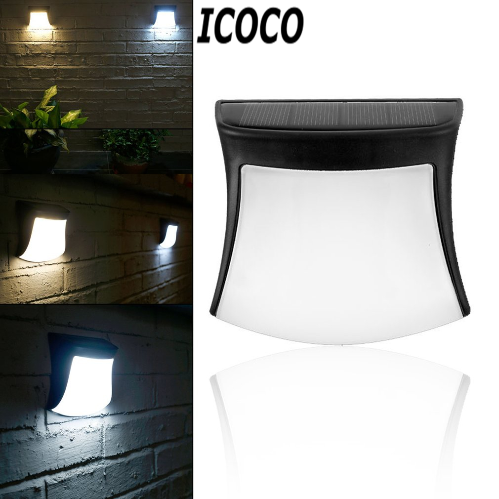 ICOCO 1pcs 3 LED Outdoor Waterproof IP65 Solar Powered Fence Light Wall Lamp for Stair Post Garden Yard Landscape Drop Shipping youoklight 0 5w 3 led white light mini waterproof solar powered fence garden lamp black